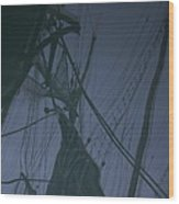 Old Sailing Ship Reflected Wood Print