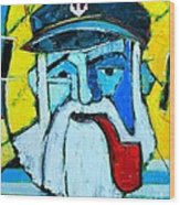 Old Sailor With Pipe Expressionist Portrait Wood Print