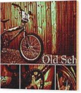 Old School Bmx - Pk Collage Colour Wood Print