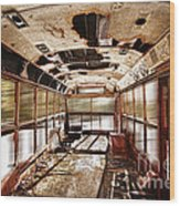 Old School Bus In Motion Hdr Wood Print