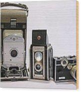 Old School Cameras Wood Print