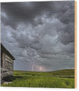 Old School House And Lightning Wood Print by Mark Duffy