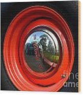 Old School Wheel And New Reflection Wood Print