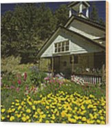 Old Schoolhouse And Garden. Wood Print