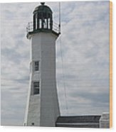 Old Scituate Light - Cedar Point Wood Print
