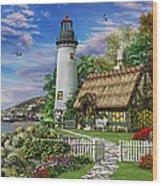 Old Sea Cottage Wood Print