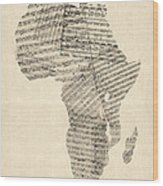 Old Sheet Music Map Of Africa Map Wood Print