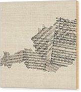 Old Sheet Music Map Of Austria Map Wood Print