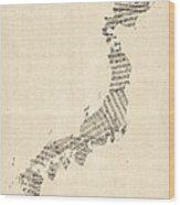 Old Sheet Music Map Of Japan Wood Print