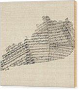 Old Sheet Music Map Of Kentucky Wood Print