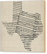 Old Sheet Music Map Of Texas Wood Print