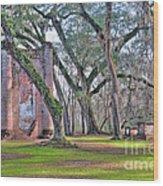 Old Sheldon Church Angled With Tombs Wood Print