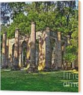 Old Sheldon Church Ruins In South Carolina Wood Print by Reid Callaway