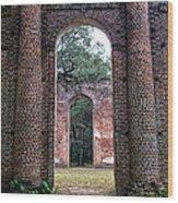 Old Sheldon Ruins Archway Wood Print