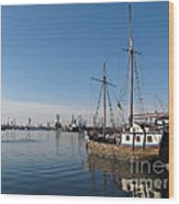 Old Ship In Calm Water Harbor Wood Print