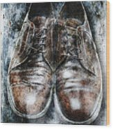 Old Shoes Frozen In Ice Wood Print