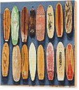 Old Skateboards On Display Wood Print
