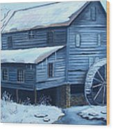 Old Snow Covered Mill Wood Print by Glenda Barrett
