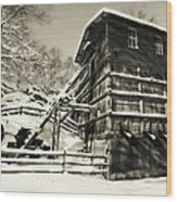 Old Snow Covered Quarry Mill Wood Print