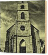 Old St. Mary's Church In Fredericksburg Texas In Sepia Wood Print