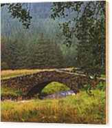 Old Stone Bridge Over Kinglas River. Scotland Wood Print
