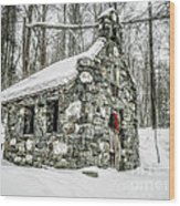 Old Stone Chapel Stowe Vermont Wood Print