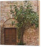 Old Stone House With Plants  Wood Print