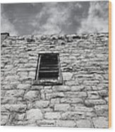 Old Stone Wall Black And White Photograph Wood Print
