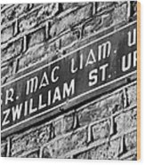 Old Style Green And White Fitzwilliam Street Upper Sign In Irish And English In Dublin On Red Brick Wall Wood Print