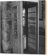 old style red telephone box with missing door in Carnlough county antrim Wood Print