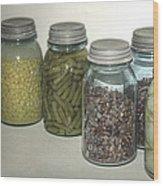 Old Style Vintage Kitchen Glass Jar Canning Wood Print