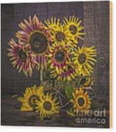 Old Sunflowers Wood Print