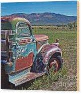 Old Taos Pickup Truck Wood Print