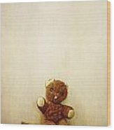 Old Teddy Bear Sitting On Stool Wood Print