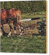 Old Time Horse Plowing Wood Print