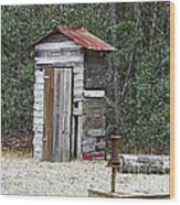 Old Time Outhouse And Pitcher Pump Wood Print
