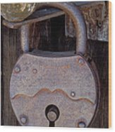 Old Time Padlock Wood Print