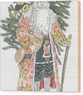 Old Time Santa With Teddy Wood Print