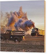 Old Time Steam Wood Print