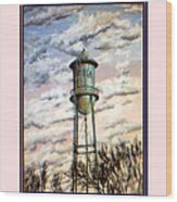 Old Tioga Water Tower Print Wood Print