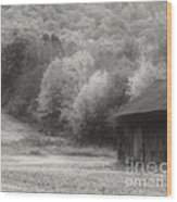Old Tobacco Barn In Black And White Wood Print