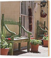 Old Town Albuquerque Green Bench Wood Print
