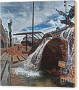 Old Town Fountain Wood Print by JulieannaD Photography