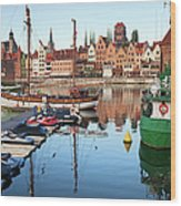 Old Town Of Gdansk Skyline And Marina Wood Print