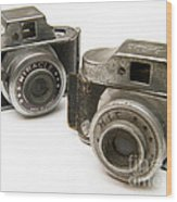 Old Toy Cameras Wood Print
