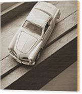 Old Toy Car On The Window Sill Wood Print
