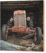 Old Tractor Face Wood Print by Gary Heller