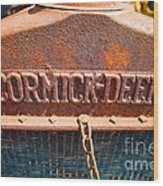 Old Tractor Grille Wood Print