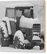 Old Tractor In The Snow Wood Print