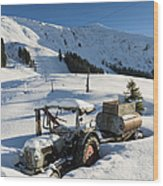 Old Tractor In Winter With Lots Of Snow Waiting For Spring Wood Print